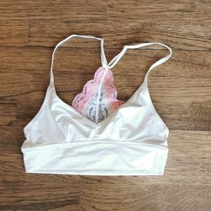 Aerie Lined Lace Racerback Bralette Cream XS NWOT